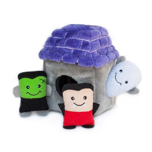 Zippy Paws Halloween Burrow - Haunted Castle Dog Toy - toy
