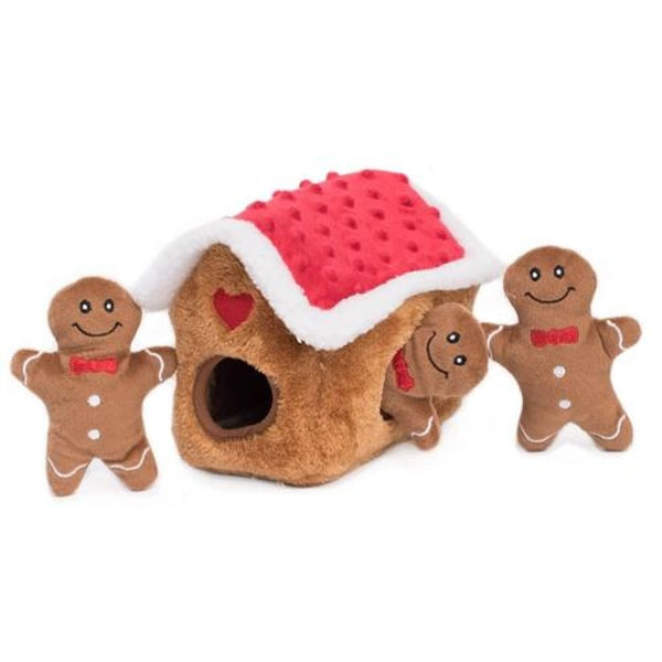 Zippy Paws Holiday Zippy Burrow Gingerbread House Hide And Seek Puzzle Dog Toy - Dog Toy