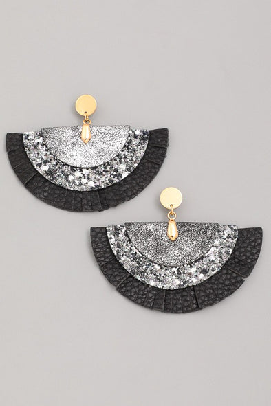 Faux Leather Semi Circle Fan Earrings
