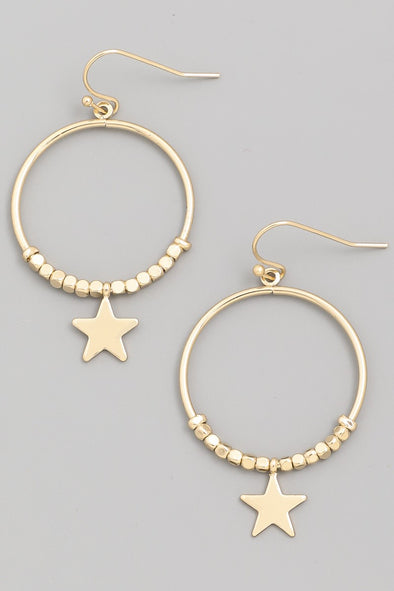 Hoop Drop Star Earrings
