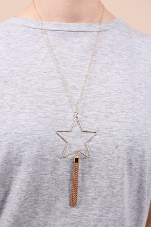 Star Struck Necklace with Metal Tassel