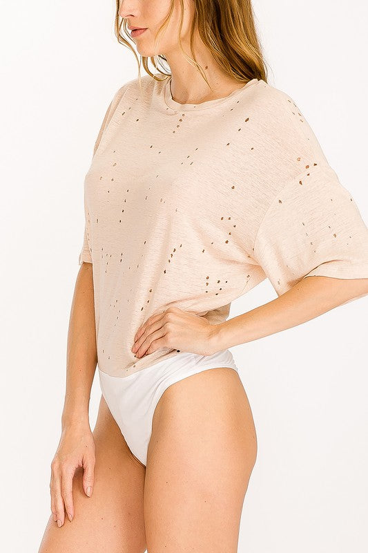 Distressed Crew Neck Tee Bodysuit