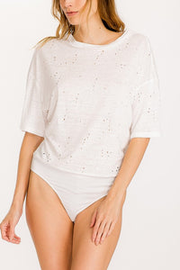 White Distressed Crew Neck Tee Bodysuit