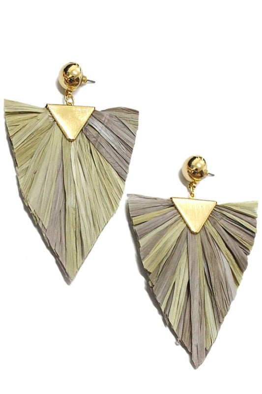 Raffia Geo Drop Earrings Natural
