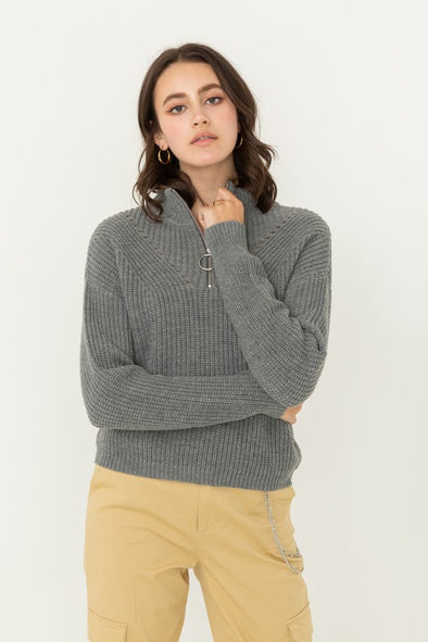In My Sight Zip Up Sweater - Grey