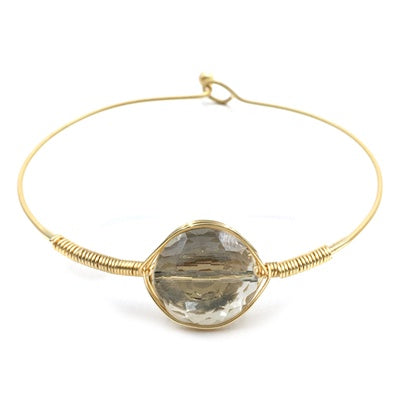 Gray Crystal Stone with Wire Wrapped Hinged Bracelet