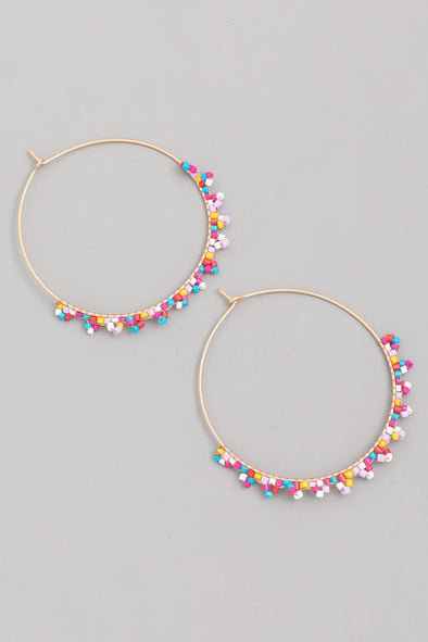 Thin Bead Hoop Earrings