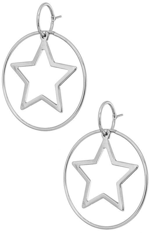 Shooting Stars Hoop Earrings - Rhodium