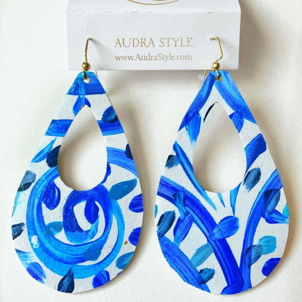 "3"" Teardrop Earrings - Blue White"