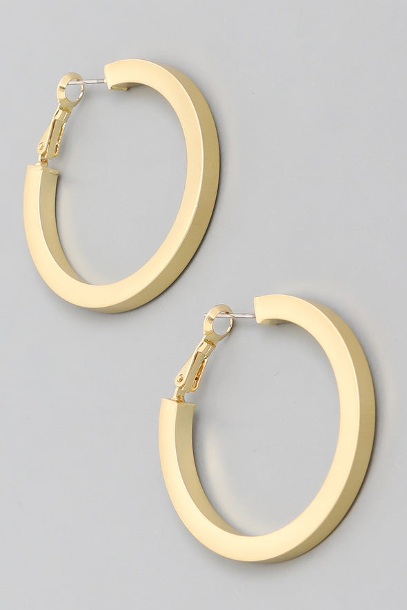 Thick Metallic Hoop Earrings - Multiple Colors