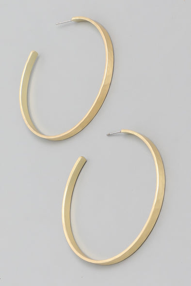 Matte Flat Hoop Earrings - Multiple Colors