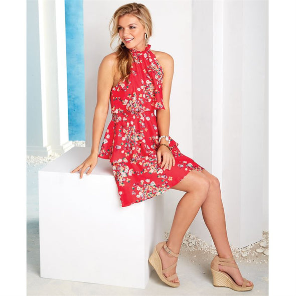 Pacey Flounce Dress Red