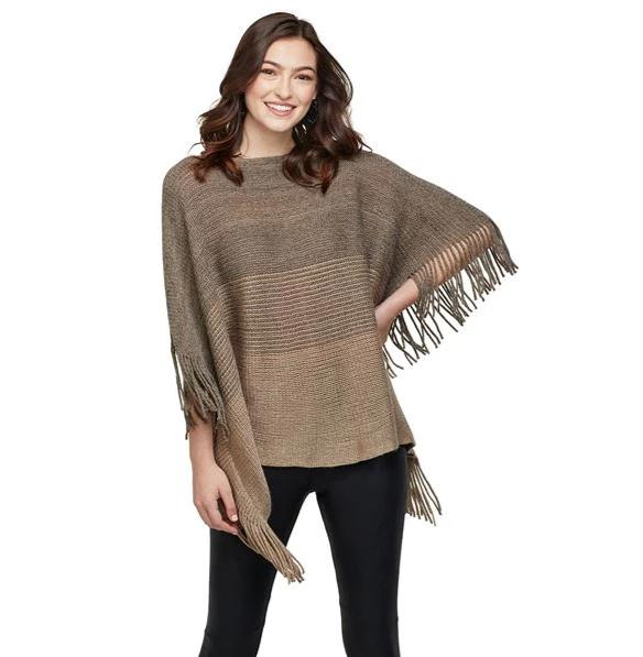 Sadie Poncho - Taupe - One Size