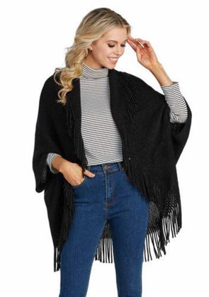 Georgie Fringe Cardigan - Black