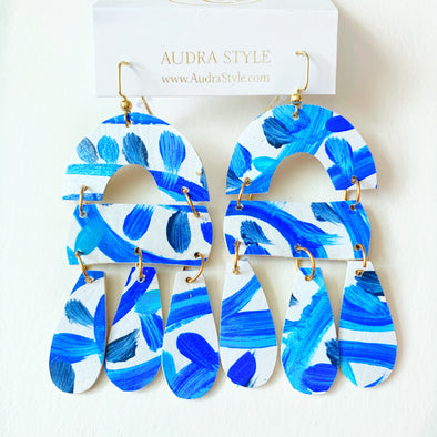 Blue and White Abstract Drop Earring