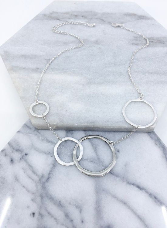 Mixed Metal Hammered Necklace in Silver