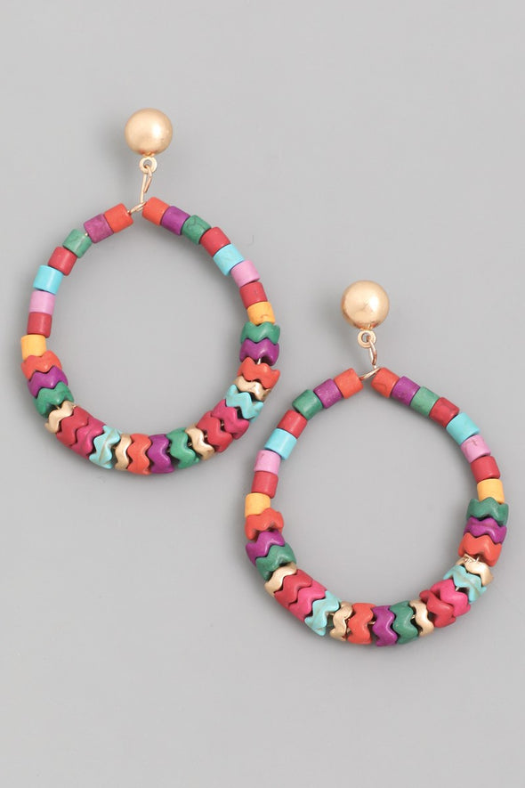 Beaded Swirl Hoop Drop Earrings - Multiple Colors