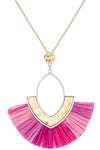 Oval Pendant with Raffia Fan Necklace