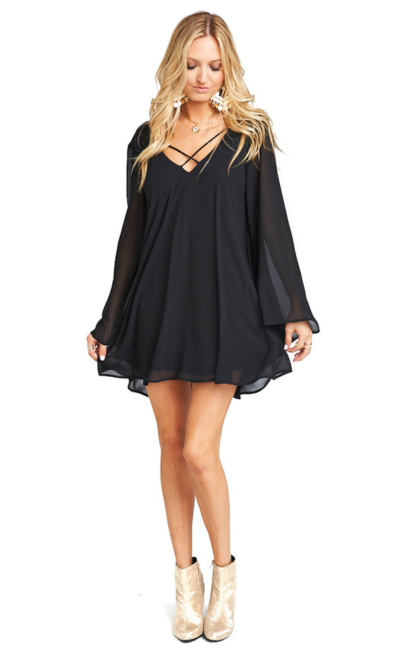 Joni Flow Dress - Black Chiffon