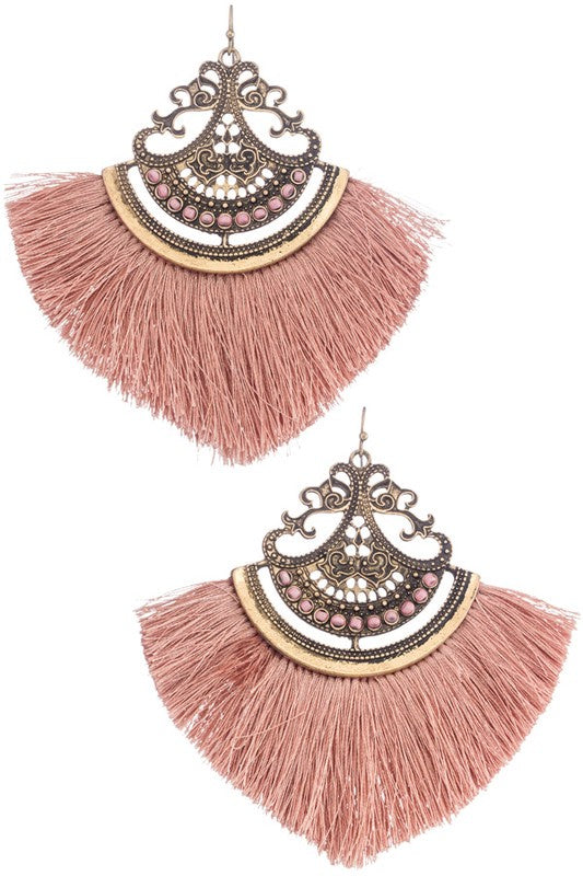 Filigree drop earrings in Pink