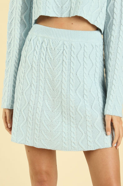 Lucky You Cable Knit Skirt