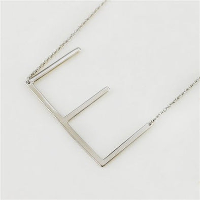 CAI Silver Medium Sideways Initial Necklace