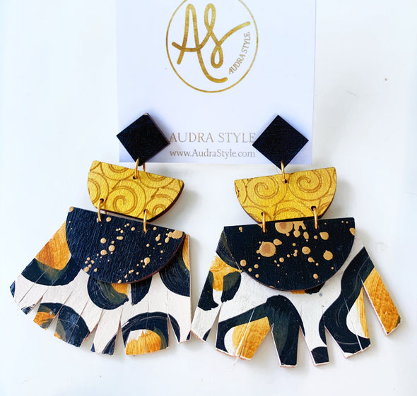 Emma - Black Leopard Gold Earring