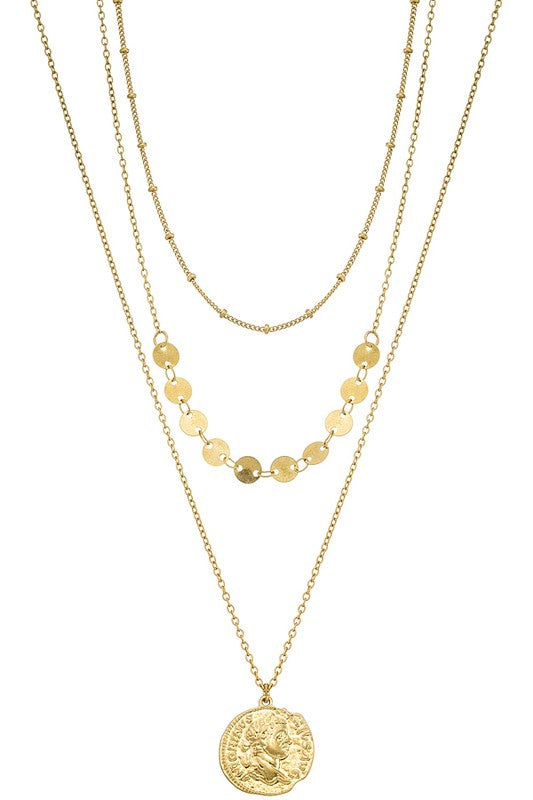 Geo charms and coin pendant Necklace -Gold