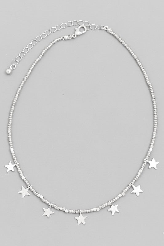 Beaded Star Choker Necklace
