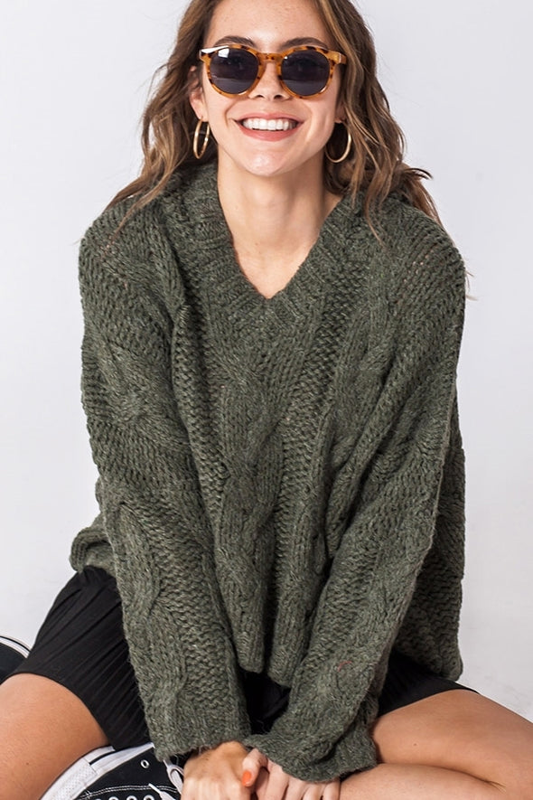 Coming to Town Cable Knit Sweater