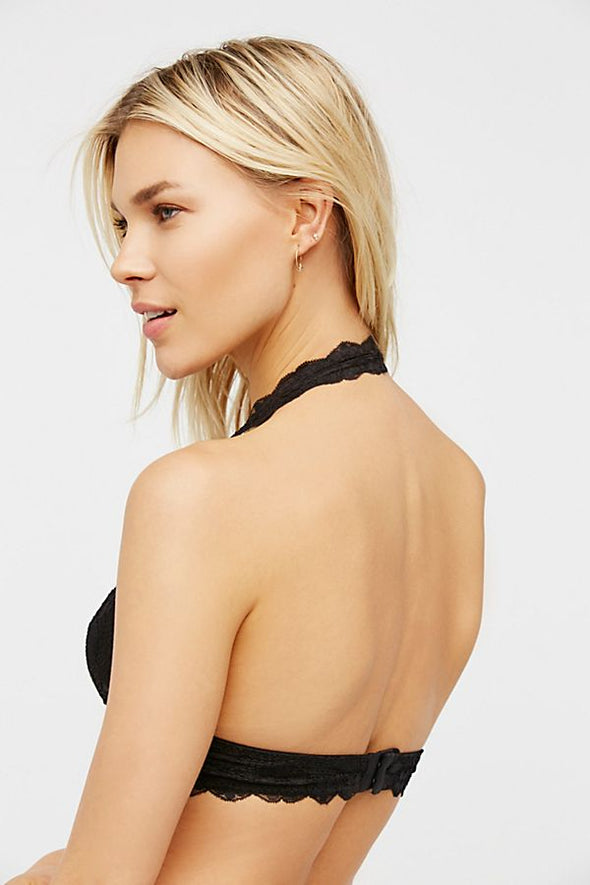 Galloon Lace Halter-Black