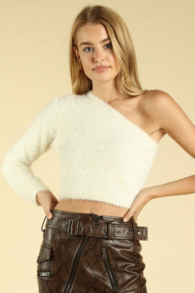 Fuzzy Wuzzy One Shoulder Sweater