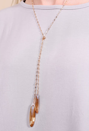 Looking Glass Knotted Double Stone Drop Necklace