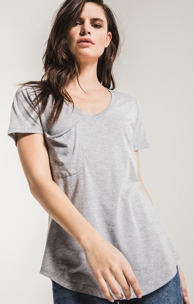 The Pocket Tee - Heather Grey Burnout