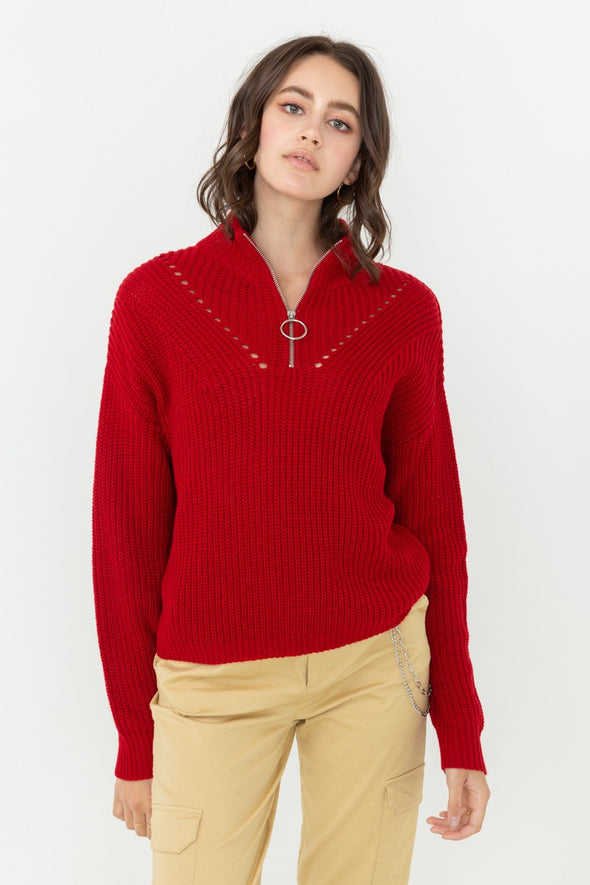 In My Sight Zip Up Sweater - Red