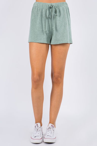 Cozy Delight Knit Shorts - Sage