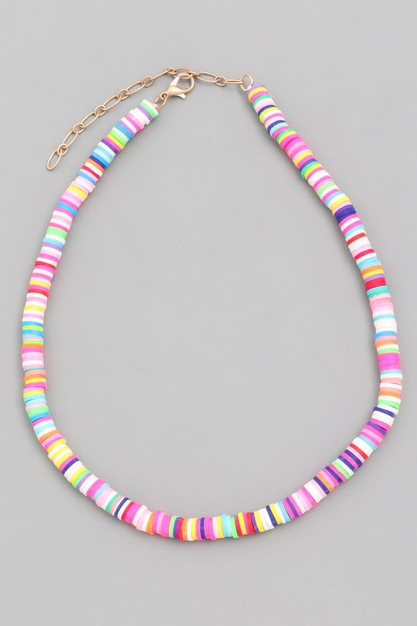 Vinyl Disc Bead Choker Necklace - Multiple Colors