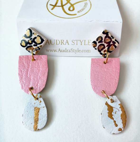 Blush and Leopard Leah Drop Earring