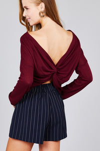 Waffle Knit Top Long Sleeve Back Knot Sweater - Burgundy
