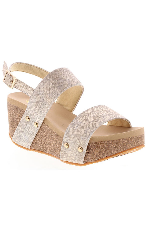 Flirtation Wedge Sandal - Gold