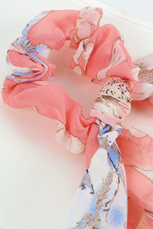 Pink Floral Print Ponytail Scrunchies