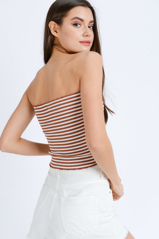 Ribbed Striped Tube Top