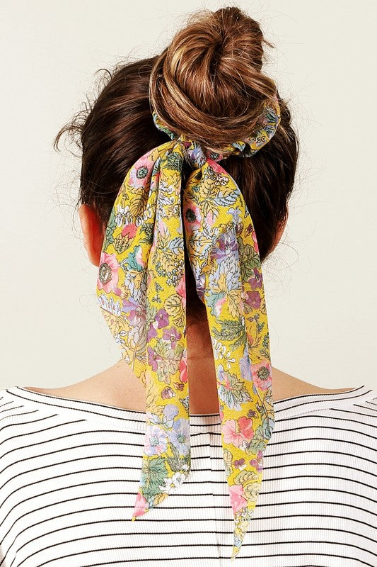 Yellow Floral Print Ponytail Scrunchies