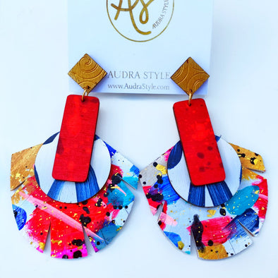 McKenzie - Red and Abstract Earring