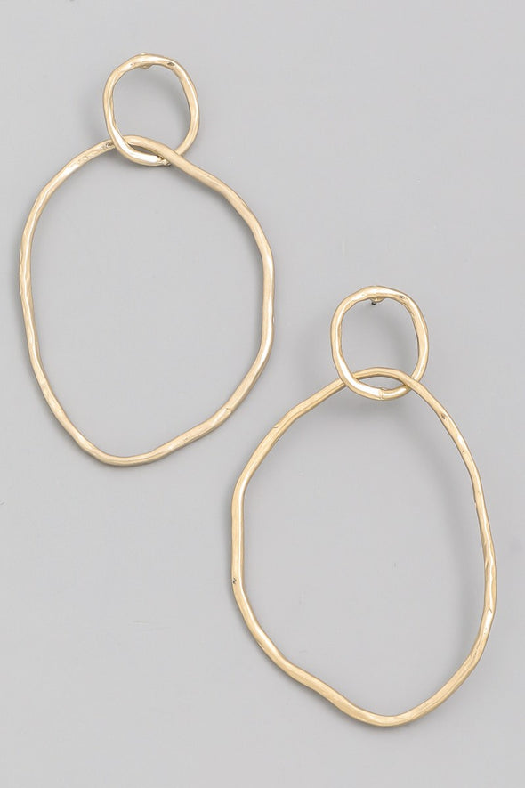 Warped Hoop Drop Earrings