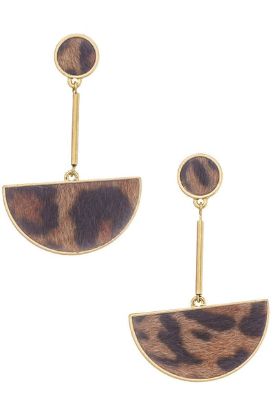 Fuzzy Leopard Drop Earrings