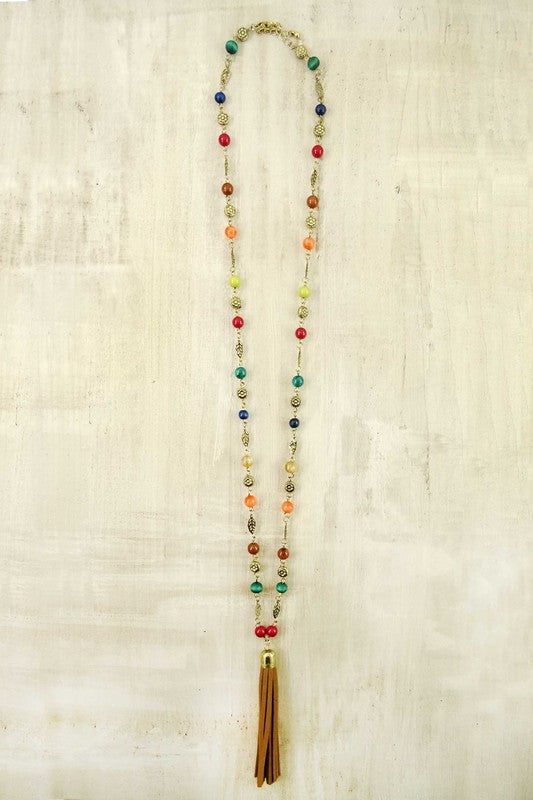 Hippie Chic Multi Colored Beaded Tassel Necklace