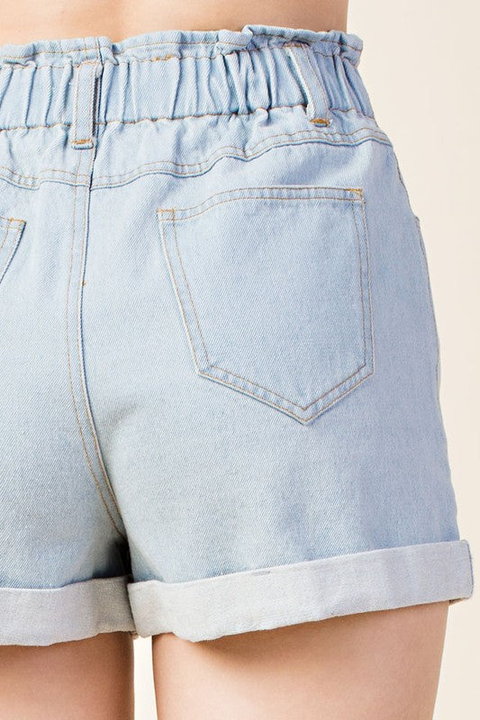 Worth A Shot Light Washed Denim Shorts