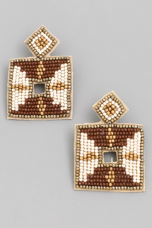 The Beaded Square Drop Earrings - Multiple Colors