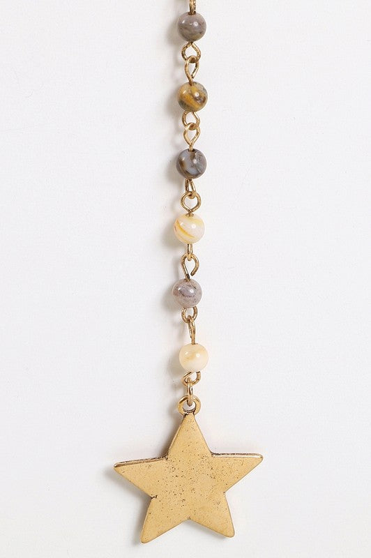 Beaded Y Shape Star Necklace